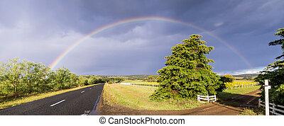 Street with vineyard and rainbow in Tasmania, Australia