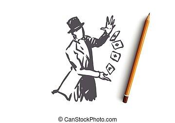 Street, wizard, magic, performance, cart concept. Hand drawn...