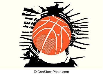 streetball - Basketball. A ball falling inside.
