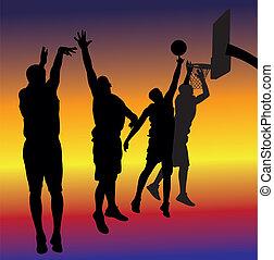 streetball, basketball - background - streetball players on...
