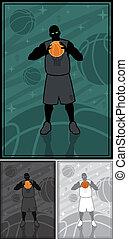 Streetball - Basketball / streetball player on abstract...