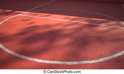 Streetball court with white lines on red background