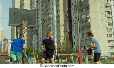 Streetball player scoring a point after fast break - Teenage...