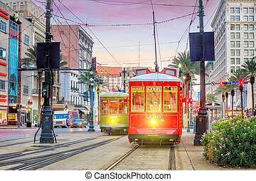 Streetcar in downtown New Orleans