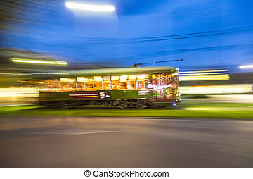 streetcar in motion
