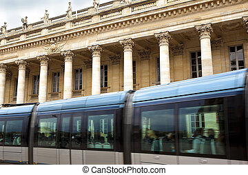 Streetcar in front of Bordeaux Opera