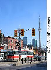 Streetcar scene in Toronto's Chinatown