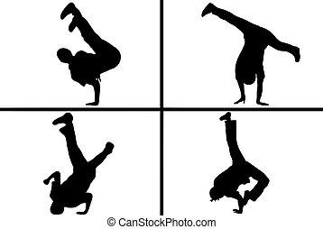 streetdancer, silhouette