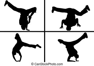 streetdancers, silhouette