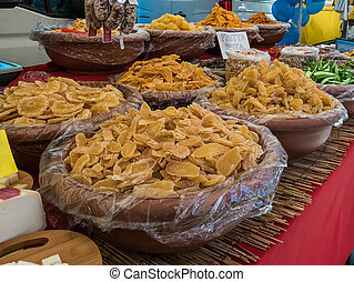 Streetfood in italy - A stall selling dried fruit in italy