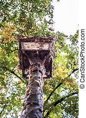 Very old streetlamp with rust and decay