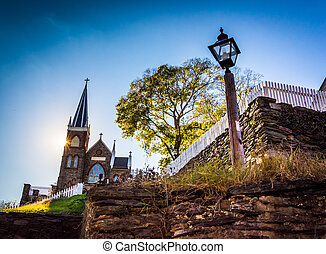 Streetlight and St. Peter's Roman Catholic Church, in Harper's Ferry, West Virginia.