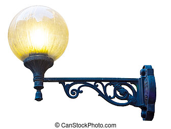 Beautiful photo of an old street lamp isolated on a white background.