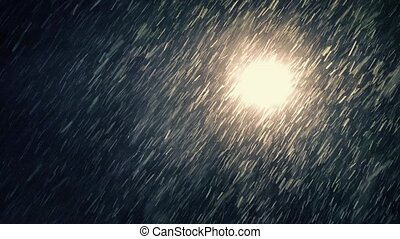 Streetlight Lighting Up Snow Flakes - Street light at night...