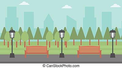 streetlight., parc, fond