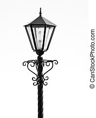 The isolated black metal streetlight whith a bulb