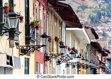 Streetlights in Cajamarca, Peru - Colonial facades and rows...