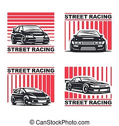 streetracing emblem set - Set of four sport cars logo, badge...