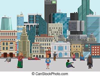 streets., こじき, beggary., 印, ホームレスである, 都市, 失業者, 保有物, board., 貧しい, あごひげを生やしている, フルである, 大きい, 音楽家, 施しを請う, イラスト, 背景, 都市の景観, 横, 人, help., 長さ, ベクトル, 人