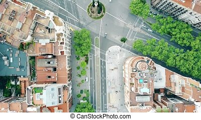 Streets and residential houses in Barcelona, Spain, top view. 4K aerial video