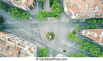 Streets and residential houses in Barcelona, Spain, top view