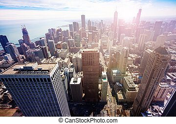 Streets and skyscrapers of Chicago panoramic view