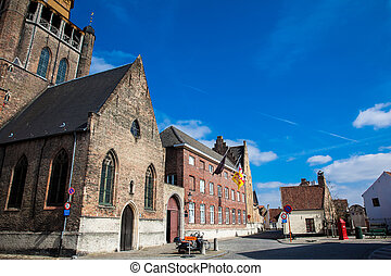 Streets and the Jerusalem church at the historical town of Bruges