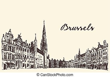 Streets in Brussels vector engraved drawn sketch