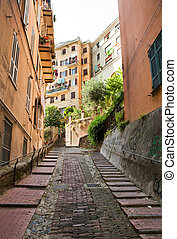 Streets in Genoa - Narrow streets in the old town in Genoa,...
