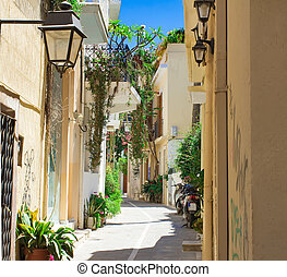Streets in the old part of the city Retno, Crete, Greece. -...