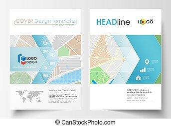 streets., landkarte, abstraktes design, schablone, stadt, ...