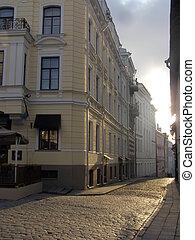 Streets of ancient city, Facades in capital of Estonia...
