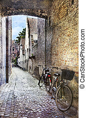 Streets of Bruges, Belgium - Cityscape of Bruges streets, ...