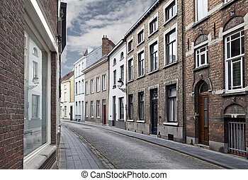 Streets of Bruges, Belgium - Cityscape of Bruges streets,...