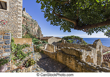 streets of Byzantine town of Monemvasia, Greece