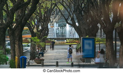 Streets of Funchal town on Madeira, fountain with globe on...