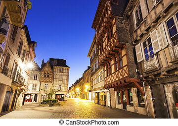 Streets of old town in Quimper. Quimper, Brittany, France