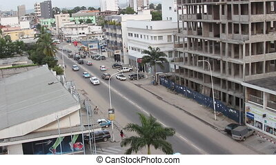 Streets of Pointe-Noire Congo - A view over main streets of...