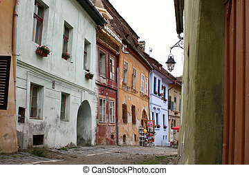 Streets of Sighisoara - Street from old part of Sighisoara ...