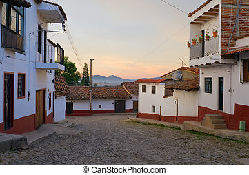 Streets of Tapalpa at Daybreak - Cobblestone streets of...