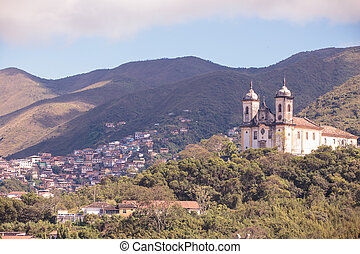 streets of the historical town Ouro Preto, Brazil