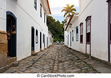 streets of the historical town Paraty Brazil - streets of...