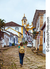 streets of the historical town Tiradentes, Brazil - Girl...