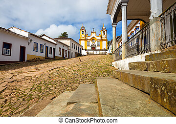 streets of the historical town Tiradentes, Brazil - view of...