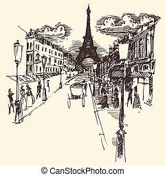 Streets Paris France Vintage Engraved Hand Drawn