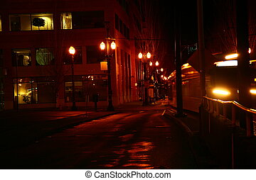 Streets Portland - Merto Link at night in City streets of...