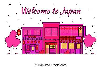 streets., pueblo viejo, japonés, cityscape, japón, ciudad, banner., viaje, district., silhouette., horizon., caer, rojo, sakura, compras, contorno, luz, hojas, petals., vector, florecer