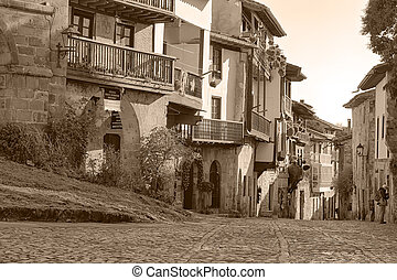Streets typical of old world heritage village of Santillana...