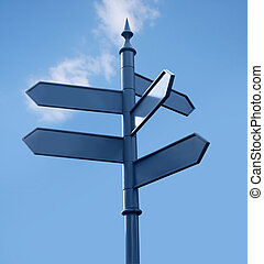 Streetsign against sky. Isolated. Clipping path