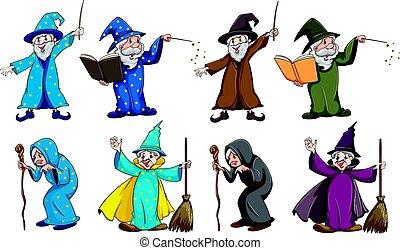 strega, e, mago, con, bacchetta magica